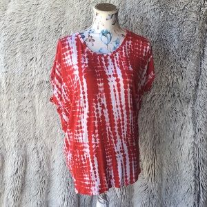 A red and white print Michael Kors top